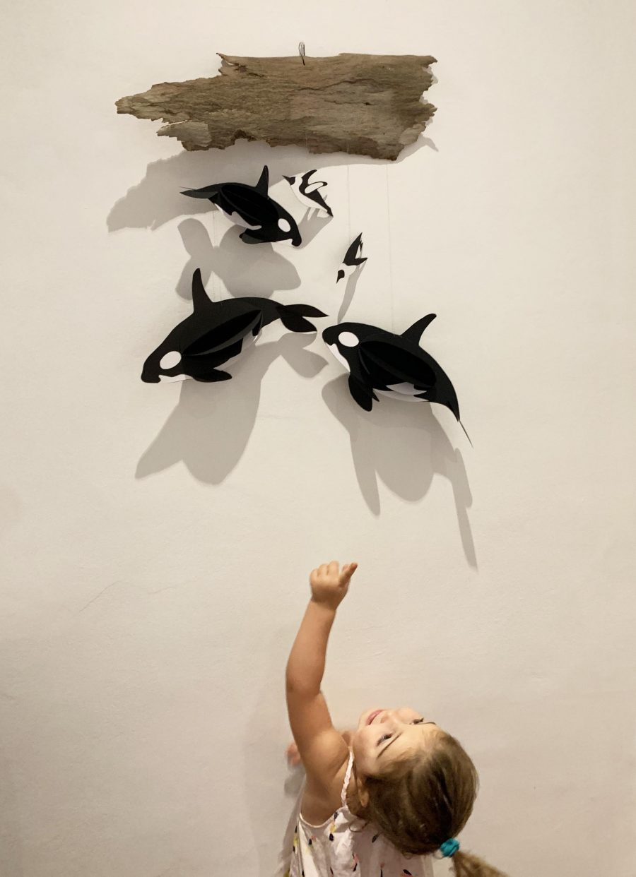 7. A paper Killer whale wall hanging
